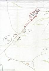 Netālu no Turaidas pils zviedru mērnieku plānā iezīmēta Turaidas baznīca un kapsēta. 1659. gads.
