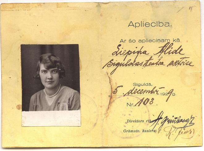 Siguldas teātra apliecība aktrisei Liepiņai Alīdai, izdota 1929. gadā, SM 4574
