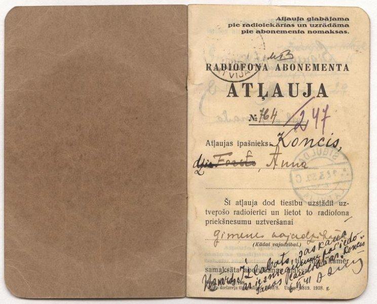 Radiofona abonementa atļauja nr. 764, izsniegta Ķoncis Annai 1941. gadā, SM 5498