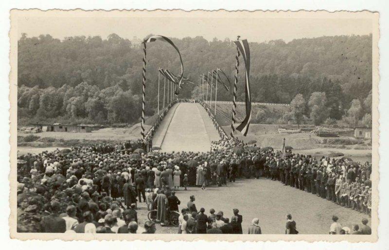 Tilta pār Gauju pie Siguldas atklāšana 1937. gadā, fotogrāfs O. Lesiņš, SM 13260