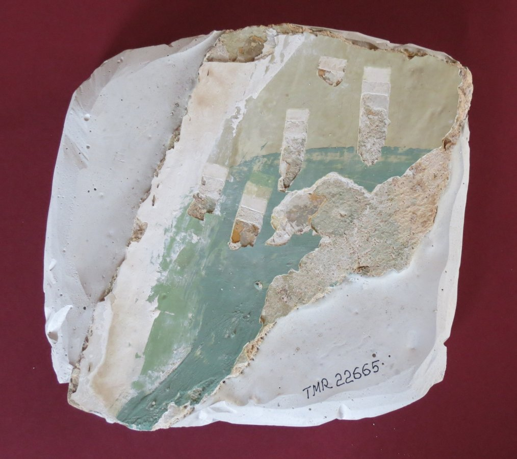 Turaidas muižas Pārvaldnieka vecās dzīvojamās mājas apmetuma fragments. TMR 22665