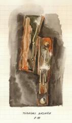 Zīmējums. Apbedījums starpsolu ejā Turaidas Baznīcā