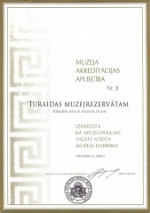 Turaidas muzejrezervāta akreditācijas apliecība 1999. gads