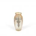 Bezkrāsaina stikla vāze ar metāla ornamentiem, Emmas Vīgantes diplomdarbs, darināta 1934. gadā. TMR 15926