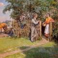 """Indriķis Zeberiņš """"Darbdienas novakare"""", eļļa/audekls, 171x124, 1959. g. SM 12653"""
