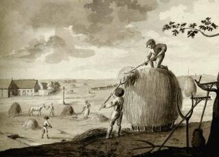 Klaušu darbi siena laikā Vidzemē. J. K. Broces zīmējums ap 1790. gadu