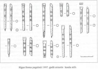 Rīgas Doma pagalmā 1997. gadā atrastie kaula stili