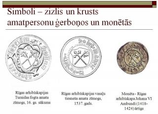 Zizlis un krusts amatpesonu ģerboņos un monētās