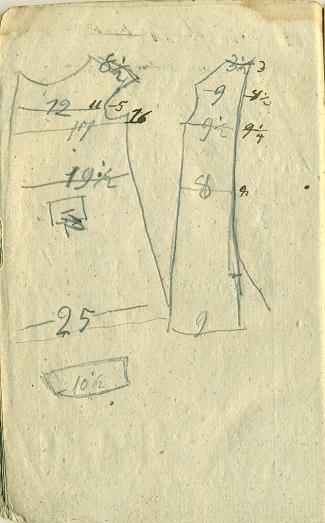 Lapa no piezīmju grāmatiņas ar piegrieztnes uzmetumu un klienta mēriem.