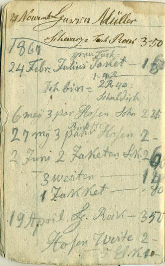 Lapa ar piezīmēm par 1867. gada februāra, aprīļa un maija pasūtījumiem un to cenām.