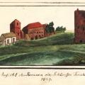 Skats uz Turaidas pilsdrupām.1829.g. Zīmējis A. Merķelis.