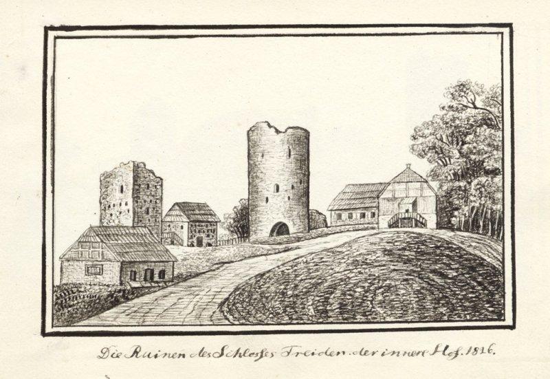 Turaidas pils drupas, 1826.g. Attēls no A. Merķeļa albūma, kura oriģināls glabājas Latvijas Akadēmiskajā bibliotēkā