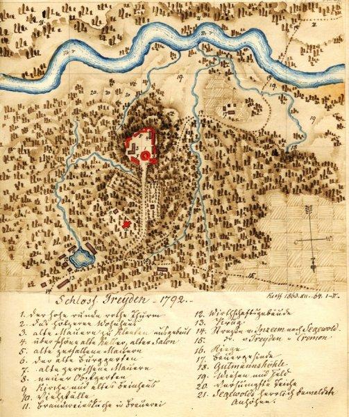 Turaidas pils apkārtnes plāns, 1792.g zīmējis J.V. Krauze