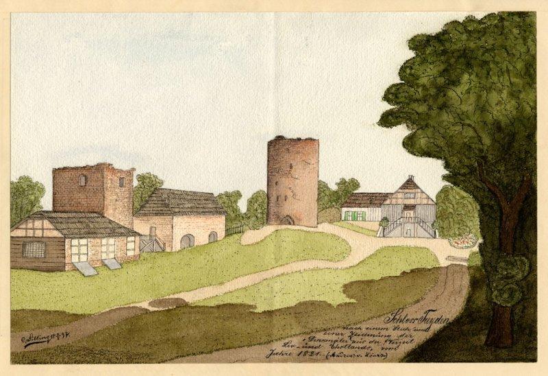 Turaidas pils. Pēc A. f. Lēvisa 1821.g.gravīras un zīmējuma. No