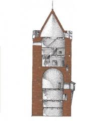 Bergfrīds, 13.gs. Šķērsgriezums. Arhitekta G.Jansona rekonstrukcija.