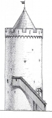 Bergfrīds, 13.gs. Ārskats. Arhitekta G.Jansona rekonstrukcija.