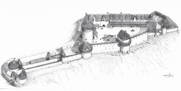 Turaidas pils kopskats ap 16. gadsimta beigām. (Arhitekta G.Jansona rekonstrukcija)