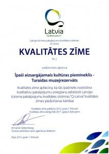 Latvijas tūrisma pakalpojumu kvalitātes sistēmas Q-Latvia kvalitātes zīme piešķirta Turaidas muzejrezervātam