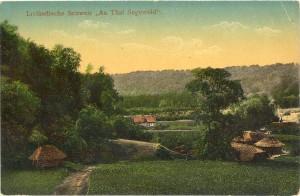Lejas Klaukas ap 1910. gadu. Kolorētas pastkartes no Turaidas muzejrezervāta krājuma