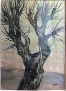 Vientuļais koks. Autors - Voldemārs Gudovskis. Akvarelis. TMR 26556