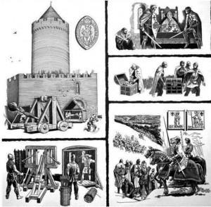 Mākslinieka Aleksandra Stankeviča zīmējums – vizualizācija 1298 .gada notikumiem Turaidā, kas zināmi no pāvesta legāta Franciska no Moliano izmeklēšanas protokola 1312. gadā. Zīmējums no Turaidas muzejrezervāta krājuma