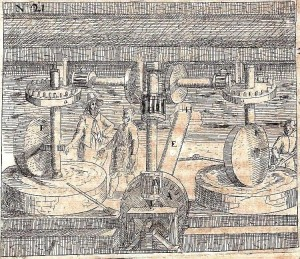 Pulvera dzirnavas. Heinriha Ceizinga (Zeising) zīm., 1612 .gads. No Vācu fonotēkas materiāliem (pieejams: www.deutschefonothek.de).