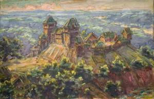 Sateseles pils. Gleznojis senatnes pētnieks Arveds Gusārs. Foto: A.Linarts