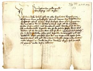 Rīgas arhibīskapa Turaidā rakstīta vēstule 1439.gada 2.decembrī ar ūdenszīmi – zvanu.