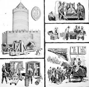 Turaidas pils aplenkšana 1297. gadā. Zīmējis Aleksandrs Stankēvičs