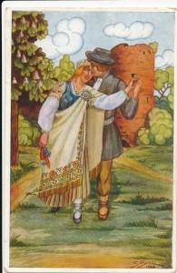 """Pastkarte """"Līgsmus Līgo svētkus!"""", 1928. gads.TMR 19197"""