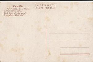 """Pastkarte """"Līgsmus Līgo svētkus!"""", 1928. gads. Aizmugure. TMR 19197"""