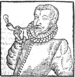 Angļu smēķētājs. 1595. gada kokgriezums – ilustrācija pamfletam par tabaku. http://en.wikipedia.org/wiki/Anthony_Chute