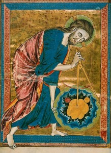 Dievs kā pasaules arhitekts ar cirkuli rokā, radot zemeslodi – franču miniatūra (1215.-1230.g.). (no: http://fr.wikipedia.org/wiki/Bible_moralis%C3%A9e_de_Vienne_2554 )