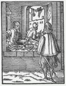Cirkuļu kalējs. Josta Ammana kokgrebums, 1568.g. (no: http://de.wikisource.org/wiki/Eygentliche_Beschreibung_Aller_St%C3%A4nde_auff_Erden )