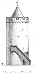 Turaidas pils galvenais tornis 13. gadsimtā. Arhitekta Gunāra Jansona rekonstrukcijas zīmējums – skats no pagalma un griezums (2007. g.)