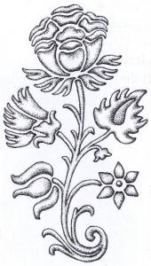 Turaidas pilī atrasta krāsns podiņa rotājums – ziedu grupa ar krāšņu barokālu magoni vidū. 17. gs. pēdējā trešdaļa. Dzintras Zemītes zīmējums