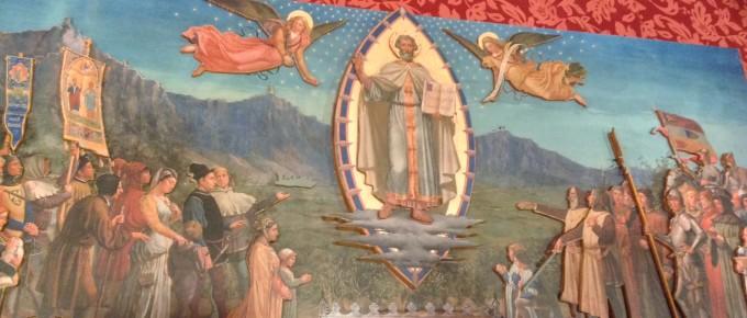 Sienas gleznojuma ar svēto Marīno no Palacco Pubblico atveidojumus cilvēkiem ar redzes traucējumiem