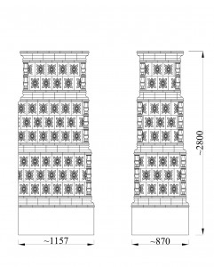 Vēlā baroka stila krāsns, rekonstruēta no Turaidas pilī atrastiem 18. gs. trešā ceturkšņa podiņiem ar ordeņa zvaigznes motīvu. Paula Gailīša datorgrafika