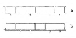 Ķieģeļu saistījuma veidi mūrī: a – vendu sējums, b – gotu sējums (arhitekta Gunāra Jansona zīmējums)