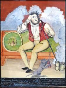 """Zīmējums """"Vīrietis ar pīpi un kaķi"""" Autors nezināms. 19. gadsimta pirmā puse"""