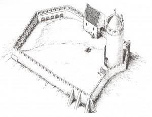 Turaidas pils 13. gadsimta pirmajā pusē. Gunāra Jansona rekonstrukcija