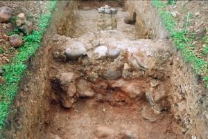Izrakumu laikā atsegtās sienas laukakmeņu pamati, kas izmūrēti austrumu – rietumu virzienā. Skats no ziemeļrietumiem