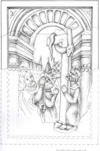 Vara čūskas pielūgšana. Turaidas pilī atrasta krāsns podiņa rotājuma rekonstrukcija. Dzintras Zemītes zīmējums.