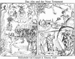 Lūkass Krānahs, Vecākais. Likums un žēlastība. 1529. gadā izgatavots kokgriezums.
