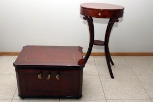 Meldera amata lāde SM 743 un Rokdarbu galdiņš TMR 19653 pēc restaurācijas