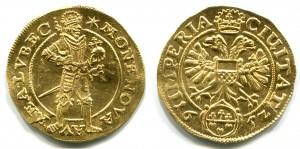 Vācu nācijas Svētās Romas impērijas zelta dukāts, kalts Lībekā 1652. gadā. Aversā attēlots ķeizars bruņās tur valstsābolu un scepteri