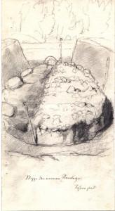 Akmeņiem klāts kapu uzkalniņš pie Turaidas Sikšņiem, pētīts 1896. gada X Viskrievijas arheoloģiskā kongresa laikā. Akmens konstrukciju zīmējums no Latvijas Nacionālā vēstures muzeja Arheoloģijas nodaļas