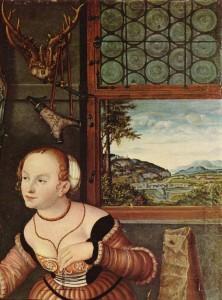 """Loga aizstiklojums ar mazām, apaļām rūtīm svina ietvaros un apkalums ar vējstieņiem. Fragments no Lūkasa Krānaha Vecākā 1532. gada gleznas """"Nevienādais pāris"""""""