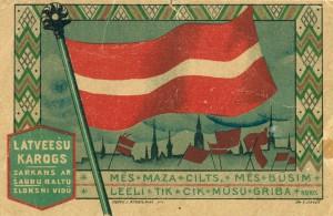 J. Rieksta 1919. gadā Rīgā izdota pastkarte ar A. Cīruļa krāsainu zīmējumu. TMR 27875