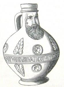 """Ķelnē 16. gs. vidū izgatavota bārdainā vīra krūze ar reformācijas laika uzrakstu """"VAN GOT MIT VNS.."""" (zīmējums no grāmatas: F. Jaennicke, Grundriss der Keramik..., Stuttgart 1879, S. 437)"""